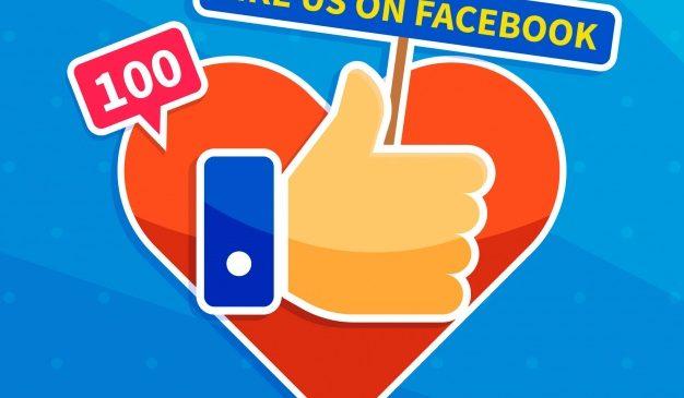 pollice alto con cuore per promozione facebook