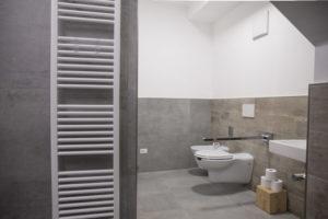 vista dei servizi igienici e maniglione aperto per disabili con dettaglio su termo arredo