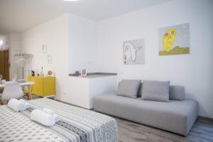 panoramica apartamento con grande divano di color grigio chiaro con sopra due quadri astratti creati da un ragazzi disabile dell'associazione anfass di un paese vicino a riva del gardaposto di fronte al letto matrimoniale